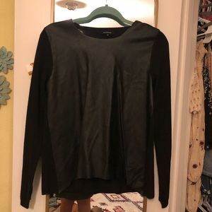 Sweaters - Leather and Sweater Knit Sweater